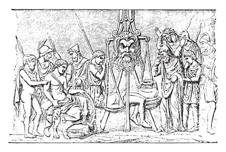 antique vase: Judgement of the vase of Bernay, vintage engraved illustration.