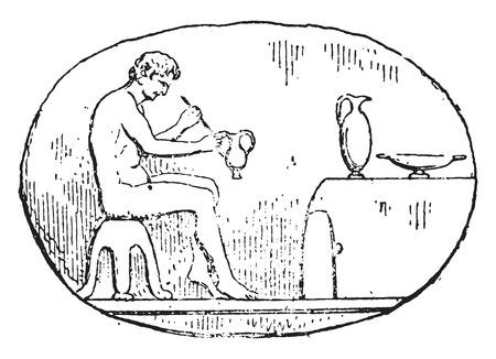alfarero: Potter, ilustración de la vendimia grabado.