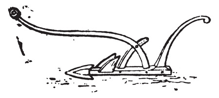 plow: Antique plows, vintage engraved illustration.