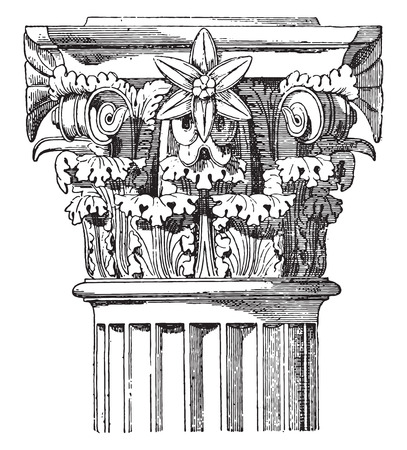 history architecture: Corinthian capital, Temple of Vesta, vintage engraved illustration.