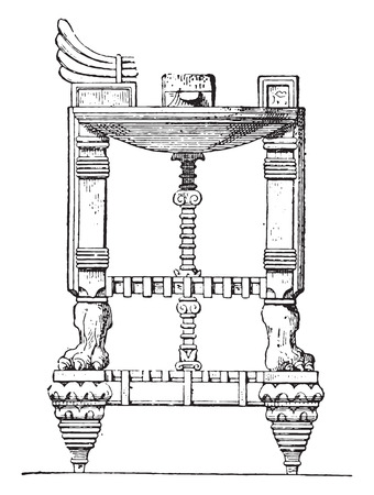 old furniture: Assyrian table, vintage engraved illustration. Private life of Ancient – Antique family – 1881.