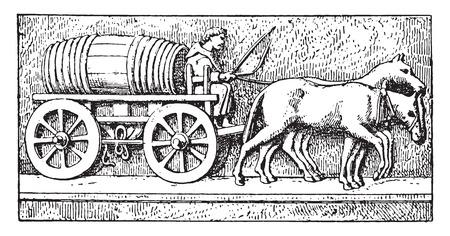 horse cart: Antique wagon, vintage engraved illustration. Illustration
