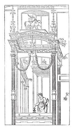 romanesque: Architectural representation, vintage engraved illustration.
