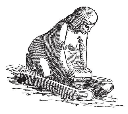 kneading: Woman kneading bread, vintage engraved illustration. Illustration