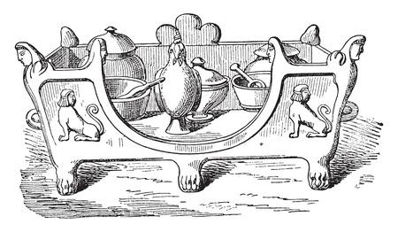 earthenware: Stove or can, vintage engraved illustration. Illustration