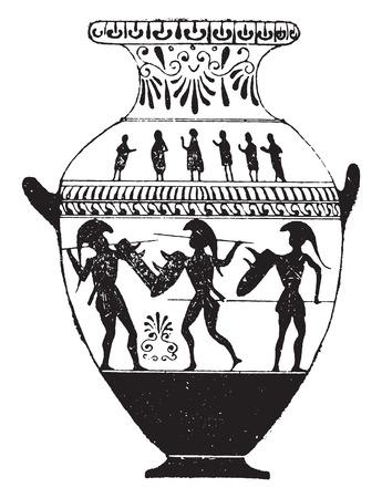 earthenware: Florero pintado con figuras negras, ilustraci�n de la vendimia grabado.