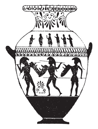 earthenware: Vase painted with black figures, vintage engraved illustration.