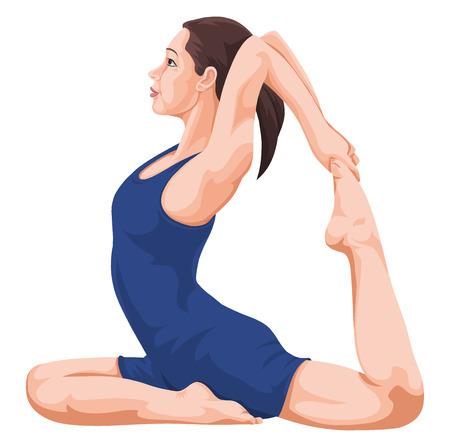 flexible: Vector illustration of woman performing yoga.