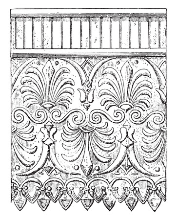 molding: Terracotta ornaments, vintage engraved illustration.