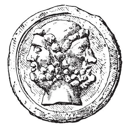 야누스는, 빈티지 새겨진 된 그림.