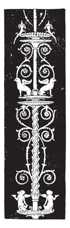 history architecture: Pillar, vintage engraved illustration.