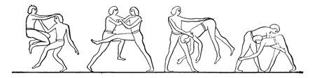 Egyptian wrestlers, vintage engraved illustration. Çizim
