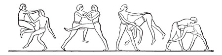 wrestlers: Egyptian wrestlers, vintage engraved illustration. Illustration