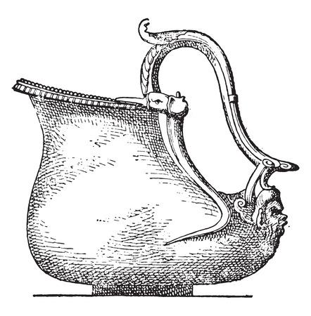 kettles: Calderos de bronce, ilustraci�n de la vendimia grabado.