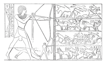 ancient egypt: Hunt by one pharaoh, vintage engraved illustration.
