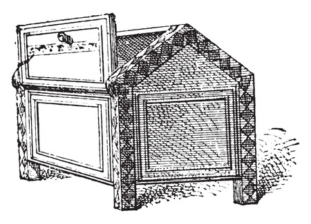 Box with inlays, vintage engraved illustration. Private life of Ancient – Antique family – 1881. Illustration