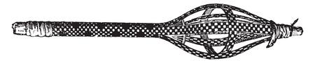 spindle: Egyptian distaff, vintage engraved illustration.