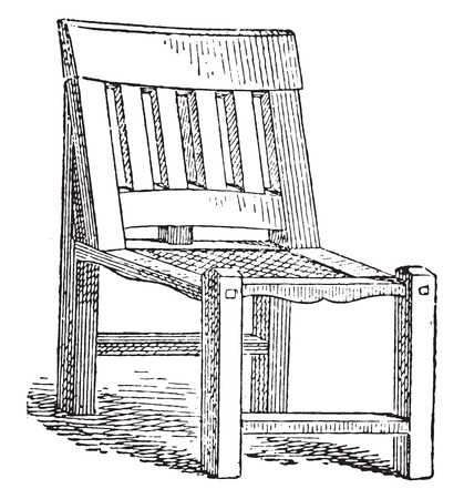 antique chair: Egyptian joint chair, vintage engraved illustration. Private life of Ancient – Antique family – 1881.