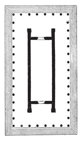 magnesia: Temple pseudodipteral, (Temple of Diana, to Magnesia), vintage engraved illustration.