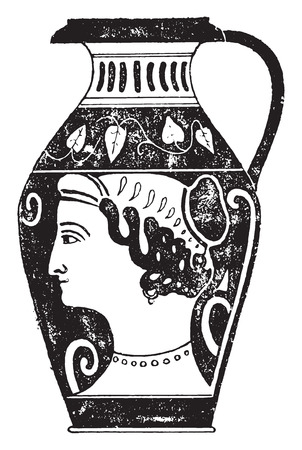 earthenware: Painted vase, vintage engraved illustration.