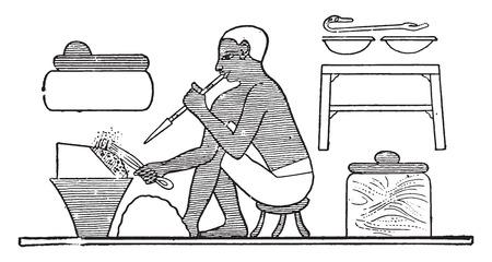 manufacturing occupation: Glass manufacturing, vintage engraved illustration.