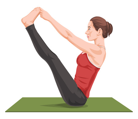 yoga mat: Vector illustration of woman stretching on yoga mat.