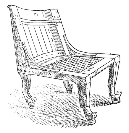 antique chair: Seats Egyptian Museum, vintage engraved illustration. Private life of Ancient – Antique family – 1881. Illustration