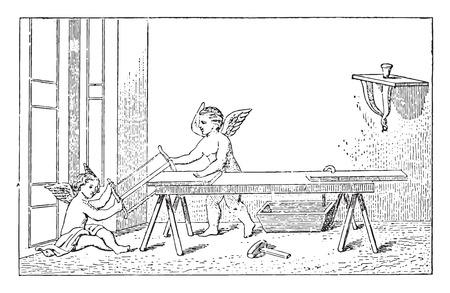Geniuses carpenters, vintage engraved illustration. Ilustração