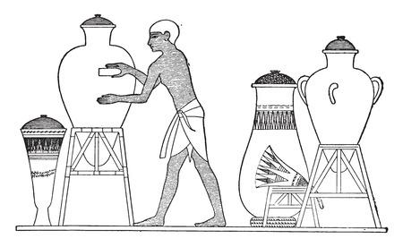 egyptian: Egyptian finishing a vase, vintage engraved illustration.