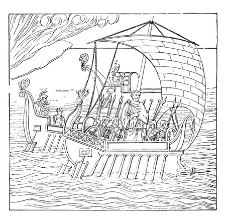 built: Roman ship, vintage engraved illustration. Illustration