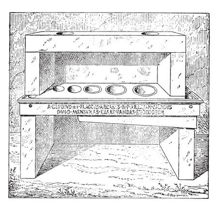 drawing room: Standard measurements, vintage engraved illustration.