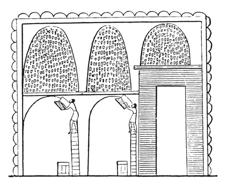 thresh grain: Granary, vintage engraved illustration. Illustration