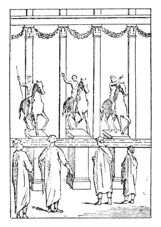 Judiciaries advertisements, vintage engraved illustration.