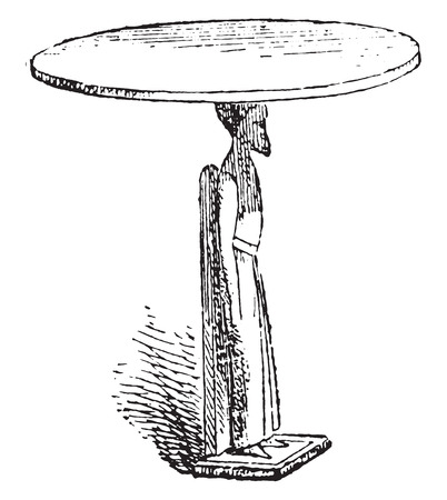 old furniture: Table with one foot in captive, vintage engraved illustration. Private life of Ancient – Antique family – 1881.