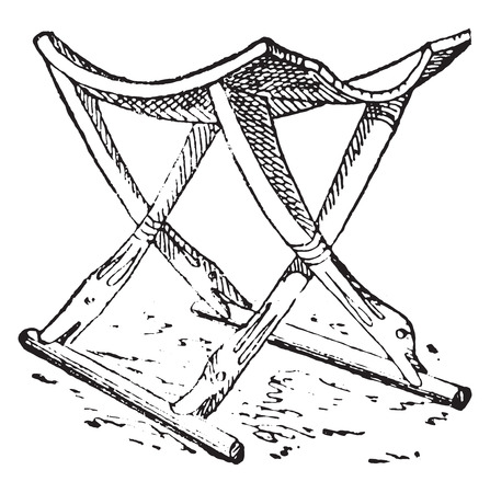折り畳み式のスツール、ビンテージの刻まれた図。古代-旧式な家族-1881年の私生活。  イラスト・ベクター素材