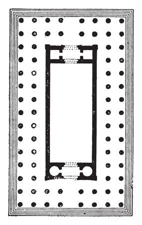 diptera: Temple diptera, (Temple of Diana at Ephesus), vintage engraved illustration.
