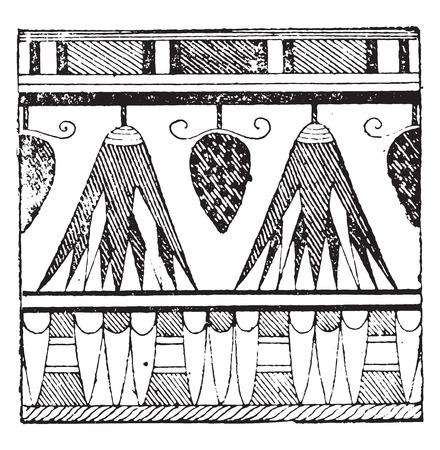 tumbas: Ornamento egipcia atrae tumbas de Qurna, ilustración de la vendimia grabado.