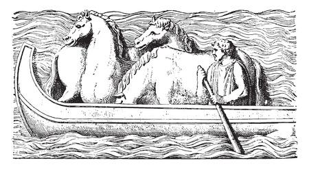 relief: Horses on a boat, vintage engraved illustration. Illustration