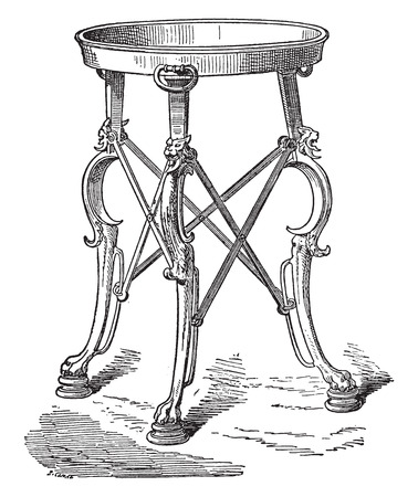 tripods: Bronze tripod, vintage engraved illustration. Illustration