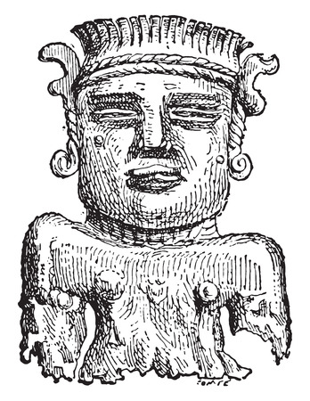 statuette: Gold figurine found at Adloun, vintage engraved illustration.