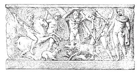 relief: A hunt, vintage engraved illustration. Illustration