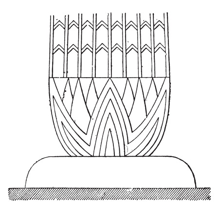 Basic Egyptian column, vintage engraved illustration.