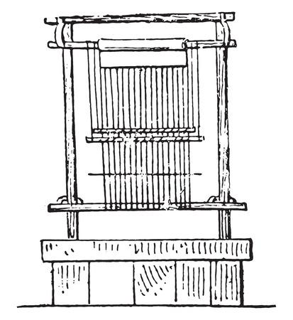 weaving: Egyptian loom, vintage engraved illustration.