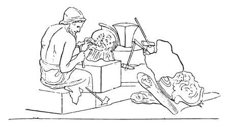 Sculptor, vintage engraved illustration. Vettoriali