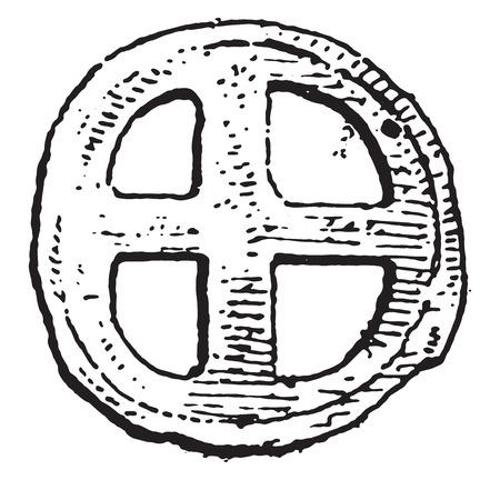 geld: Primitieve geld Galliërs, vintage gegraveerde illustratie. Stock Illustratie