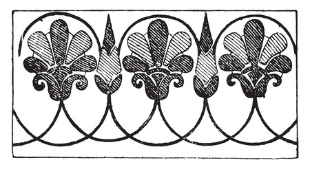 architecture drawing: Greek ornament, vintage engraved illustration.