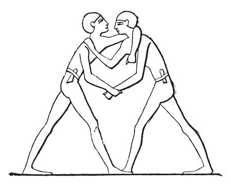 Wrestlers grappling., vintage engraved illustration.