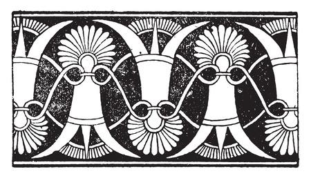 pottery: Greek ornament, vintage engraved illustration.