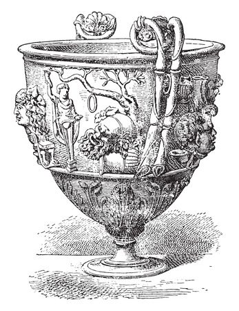 Silver vase, vintage engraved illustration. 向量圖像