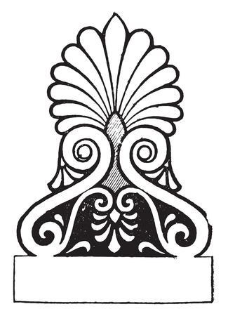 wingless: Palmette Temple of wingless victory, vintage engraved illustration. Illustration